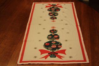 Vintage Linen Christmas Tree Holiday Table Runner