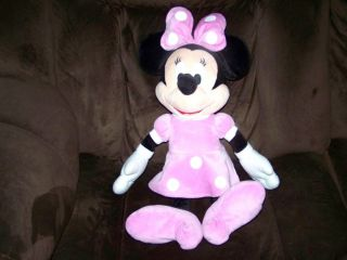 Disney Mickey Clubhouse Large 21 Minnie Mouse Velour Pink White Plush