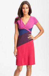 BCBGMAXAZRIA Surplice Colorblock Jersey Dress (Petite)