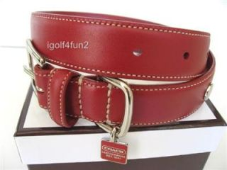 Coach Red Leather Snaphead Dog Collar with Charm L Large