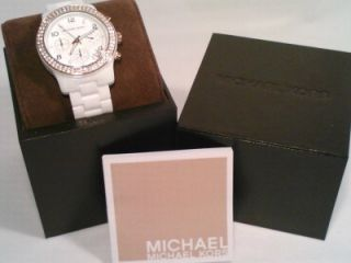 New Michael Kors Womens White Ceramic Rose Gold Glitz Chrono Watch