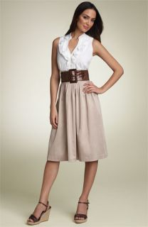 Eliza J Belted Ruffle Front Dress