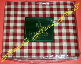 NIP Ralph Lauren Cold Spring Red Gingham Flat or Fitted Sheet Twin