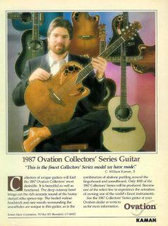1987 Ovation Collectors Series Guitar Print Ad