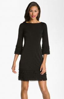 Donna Morgan Fringe Detail Matte Jersey Shift Dress