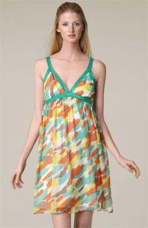 Milly Watercolor Print Chiffon Dress