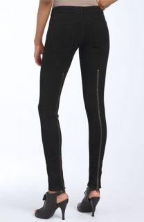 Current/Elliott The Back Zip Skinny Stretch Jeans (Super Stretch Black Wash)
