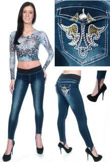 Banded Waist Embroidered Pocket Stirrup Skinny Jeans