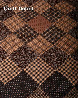 Luxury Heirloom Vintage Style Colfax Black Tan 100 Cotton Quilt Throw