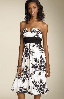 Bari Jay Print Strapless Matte Jersey Dress
