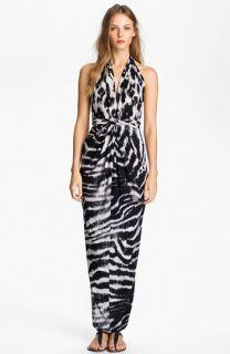 Tbags Los Angeles V Neck Printed Halter Maxi Dress