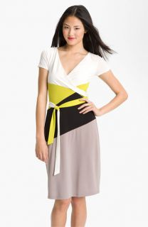 BCBGMAXAZRIA Surplice Colorblock Jersey Dress
