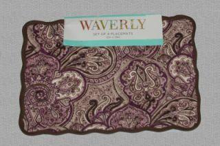 Waverly PADDOCK Paisley Plum Color Reversible Quilt Placemats