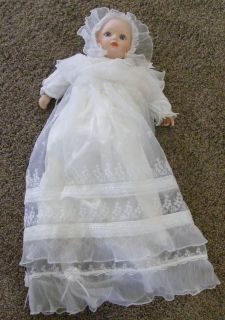 Vintage Porcelain Baby Doll Baptism Dress Gown Collectible Doll