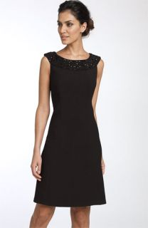 Tahari by Arthur S. Levine Beaded Neck Shift Dress