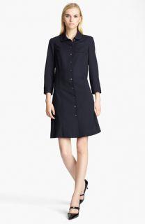 Jil Sander Navy Stretch Wool Shirtdress