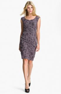 Adrianna Papell Rosette Detail Chiffon Sheath Dress