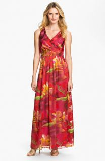 Donna Ricco Surplice Print Maxi Dress