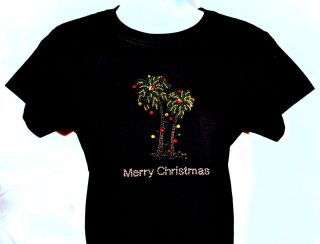 Christmas Tshirt with Lighted Palm Tree Holiday Color Black