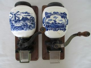 DELFT PORCELAIN COFFEE GRINDER MILL HAND CRANK WALL COFFEE GRINDER