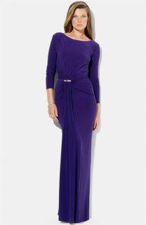 Lauren Ralph Lauren Low Back Jersey Gown