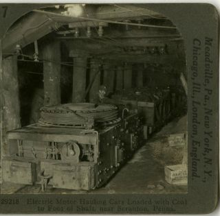 Stereoview Coal Mining PA Anthracite Electric Motor Cars Haul Coal