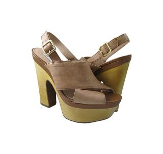 NWD Steve Madden Womens Maxinnee Cognac Lea Platform Sandals Shoes US