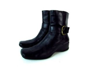 Womens Black Clarks Soft Leather Ankle Wedge Boots Biker Leather