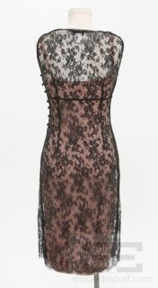 Collette Dinnigan Black Lace Overlay & Pink Slip Sleeveless Dress Size