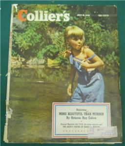 COLLIERS MAGAZINE JULY 1948 ~ YOUNG GIRL PLAYING IN CREEK HARRY L