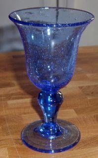 Cobalt Blue Hand Blown Glass Goblet Wine Stem Big Bubbles Flare Bowl
