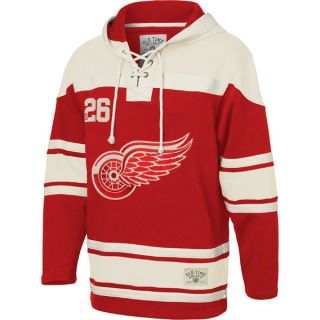 Detroit Red Wings Red Old Time Hockey Lace Up Jersey Hooded Sweatshirt