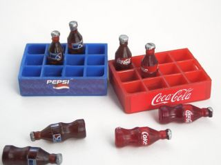 Lot 2 Dollhouse Miniatures Drink Coke Pepsi Tray Bottle