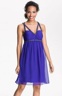 Hailey by Adrianna Papell Beaded Cross Strap Chiffon Dress