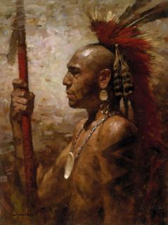 Liang Pequot Warrior Giclee Canvas Native American