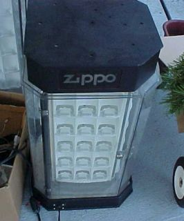 Vintage 60 ZIPPO Lighter Rotating Revolving Display Case Lighted w key