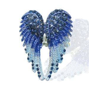Angel Wing Stretch Ring Sz Free Swarovski Crystal Blue 10 Items Free