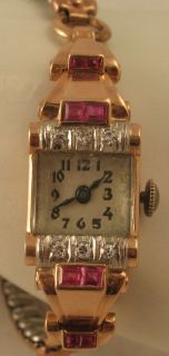 Stunning Vintage Colomby Ruby Diamond 14k Rose Gold 17J Watch