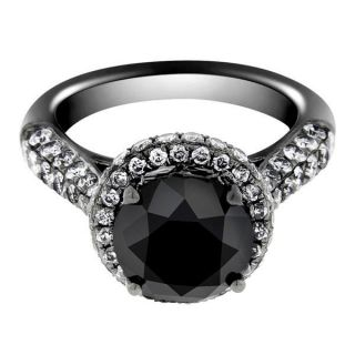 18k Black Gold Round Cut AAA White Diamond MICRO PAVE Engagement Ring