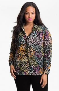 Foxcroft Animal Print Shaped Shirt (Plus)