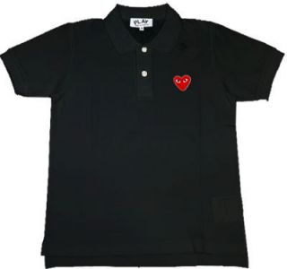 Comme Des Garcons CDG Play Heart Mens Polo Shirt Black Sz S