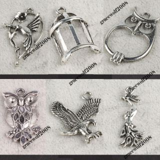 Tibetan Silver Jewelry Making Supplies Vintage Bird and Owl Charms