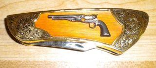 FRANKLIN MINT COLT FIREARM KNIFE 1860 Army Revolver Pocket Gun Knives