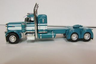 Turquoise Teal White Peterbilt Day Cab Kenworth Lonestar COE