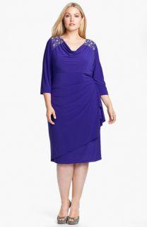 Alex Evenings Jeweled Faux Wrap Matte Jersey Dress (Plus)