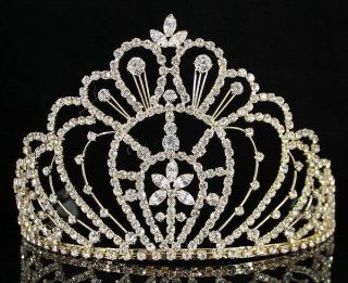 Crystal Crown Tiara w Combs Pageant Prom Bridal H469 Gold