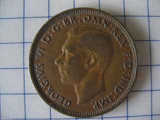 1941 HALF PENNY  GREAT BRITIAN , GEORGIVS VI   OLD WAR TIME COIN