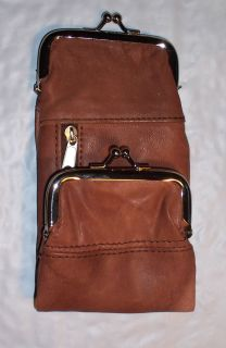 Womens Leather Cigarette Case Wallet Coin Purse Saddle Tan