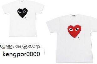 Comme Des Garcons CDG Play Red Heart Ladys T Shirt White Sz M