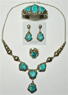 Navajo Sleeping Beauty Turquoise 4 Piece Set Clem Nalwood